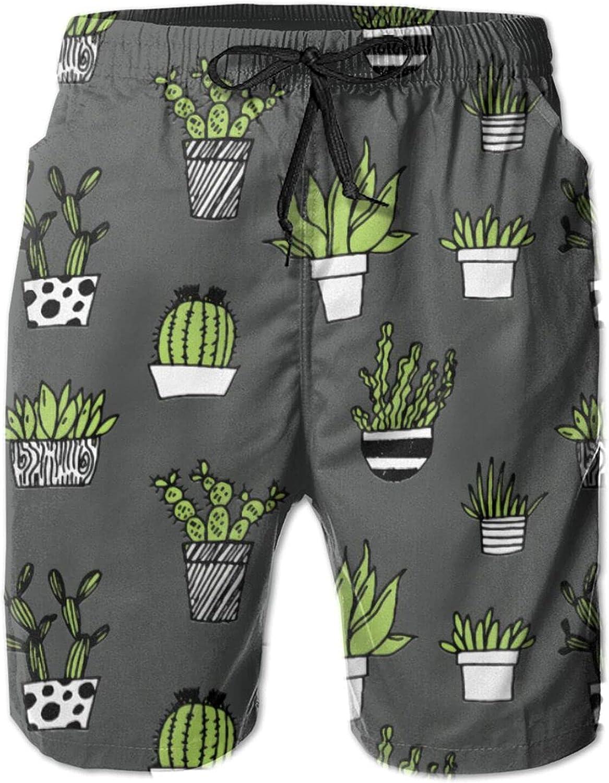 Behoneybee Mens Quick Dry Swim Trunks, Cactus Print Design Beach Board Shorts with Pocket Mesh Lining