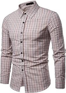 Energy Mens Premium Long Sleeve Plaid Silm Fit Fit Button Down Dress Shirts