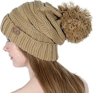 SERENITA Knit Beanie Hat, Soft Warm Cable Winter Chuncky Cap, Oversized Slouchy Stretching, Pompom, for Women