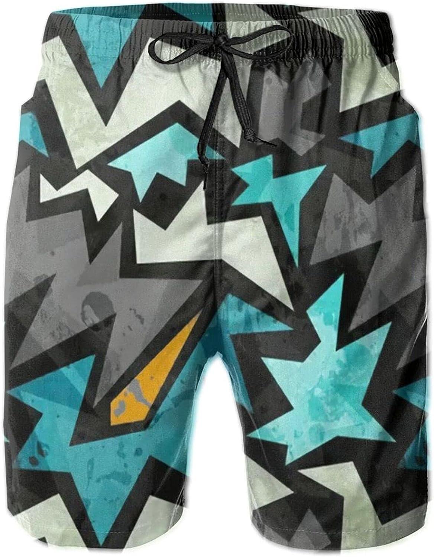 xuxirthv Men Summer Beach 3D Print Swim Trunks, Lightweight Bathing Suit for Training