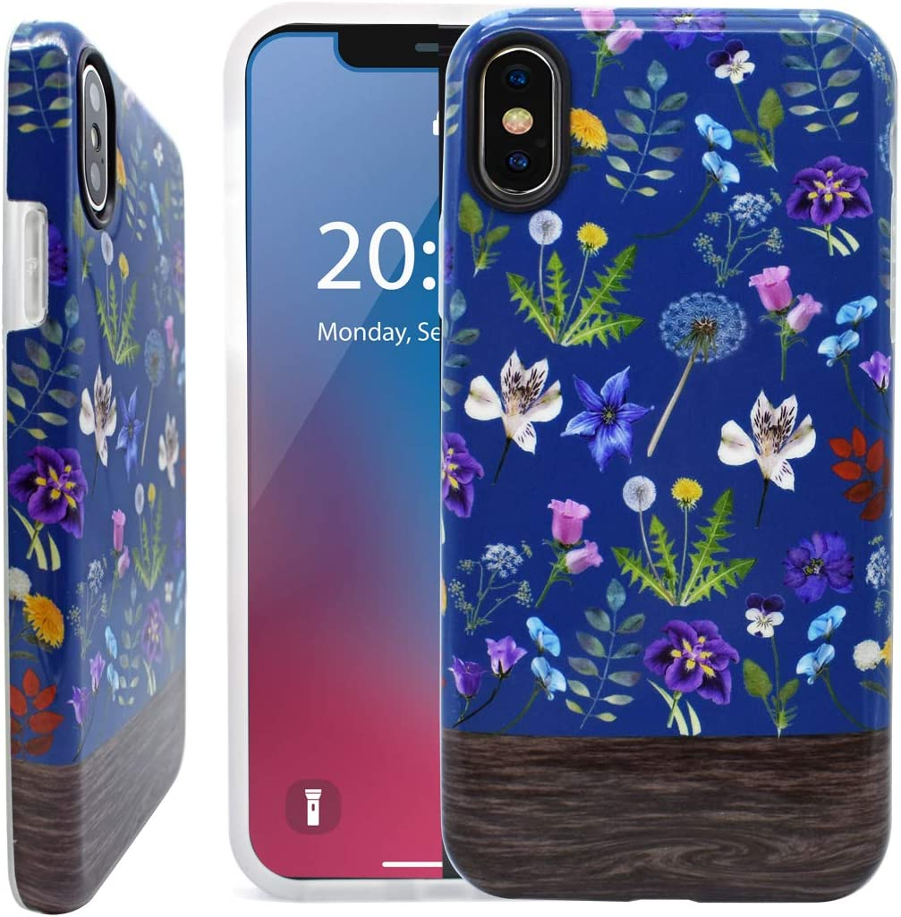 Unov Phone Case for iPhone Xs iPhone X Case Soft Protective Slim TPU Shockproof Bumper Wave Design Support Wireless Charging 5.8 Inch (Flower Bouquet)