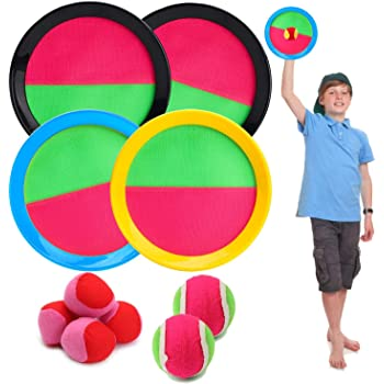 BeYumi Paddle Catch Ball Set Toss and Catch Ball Game Set 4 Hook and Loop Adjustable self-Stick Paddles 6 Balls with Storage Bag for Outdoor Activities (10 Items)