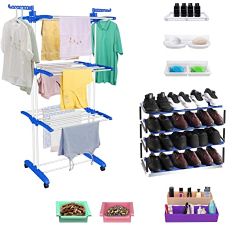 TRENDY Jumbo Clothes Drying Foldable Stand Combo with FREE Shoe Rack, 2 Organizer, 2 Fridge Trays, 3 Multipurpose Shelfs as Complimentary Gift (Blue)