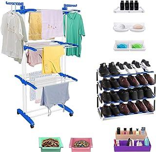 TRENDY Jumbo Clothes Drying Foldable Stand Combo with FREE Shoe Rack, 2 Organizer, 2 Fridge Trays, 3 Multipurpose Shelfs a...