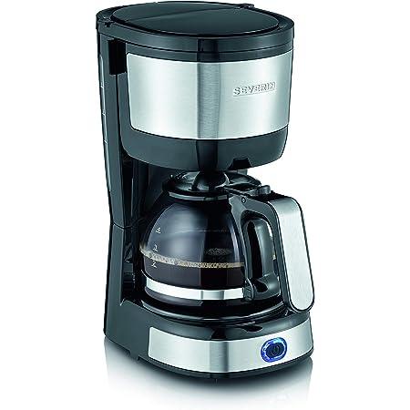 Severin KA 4808 Macchina per il Caffè, Fino a 4 Tazze, Filtro Permanente Lavabile, Filtro Oscillante, Piastra Riscaldante, 750 W, Acciaio Inox Spazzolato/Nero