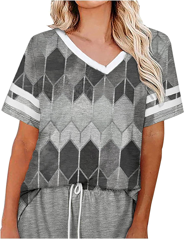 Women's Tops Printed Short-Sleeve V-Neck T-Shirt Loose Blouse Summer Cute Tank Tee