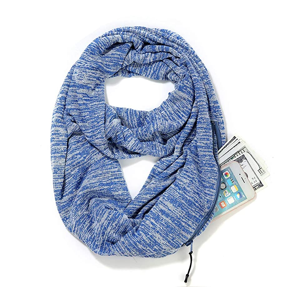 Infinity Scarf with Zipper Hidden Pocket for Women,Men,Girls-Super Soft Travel Scarves