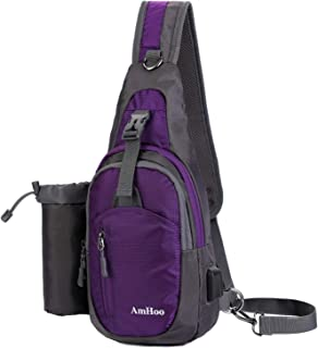 AmHoo Sling Backpack Chest Shoudler Crossbody Bag Waterproof Hiking Daypack for Women and Man with Water Bottle Holder and USB Charging Port-Purple