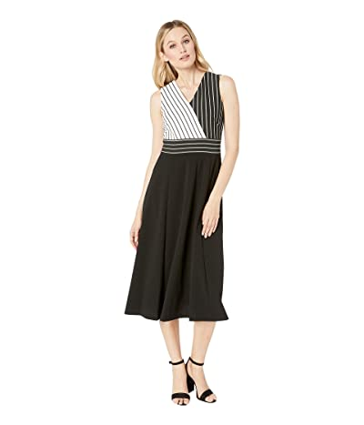 Calvin Klein Striped Bodice A-Line Dress (Black/Black/Cream) Women