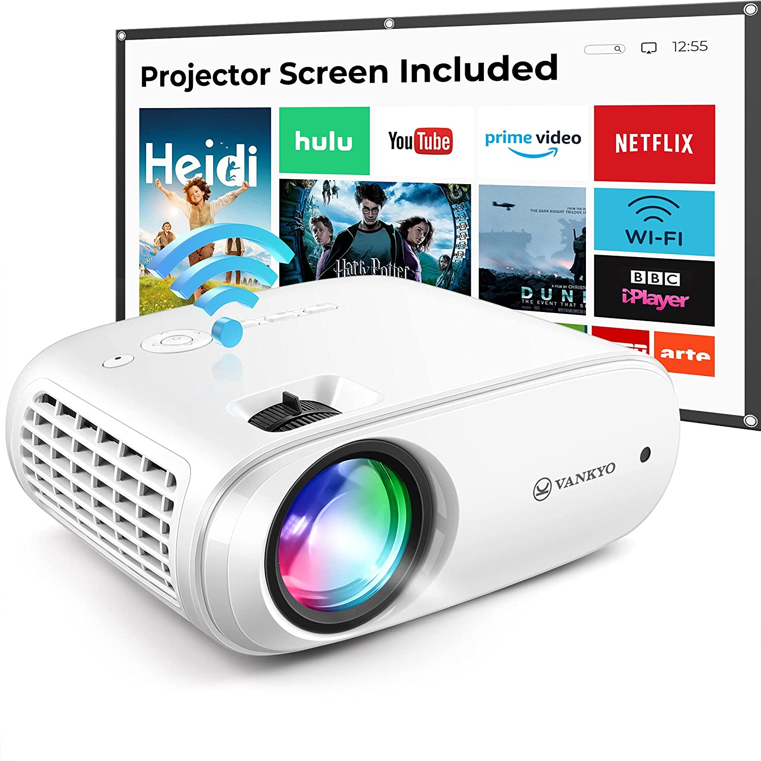 WiFi Video Projector with 100'' Projector Screen, 220
