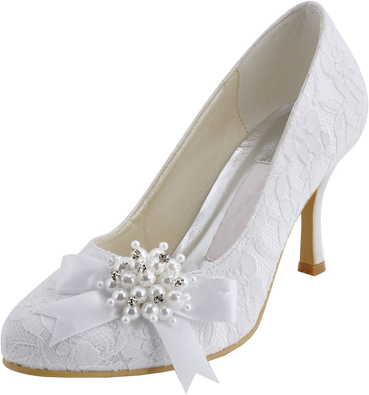 Minitoo Womens MZ563 Round Toe High Heel Beaded Broknot Lace Bridal Pumps