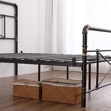 Lit en fer peint en or noir 140 cm avec pied de lit