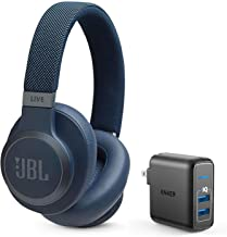 JBL Live 650 BT NC Over-Ear Noise Canceling Wireless Bluetooth Headphone Bundle with Anker PowerPort Elite 2 Ports USB Wall Charger - Blue
