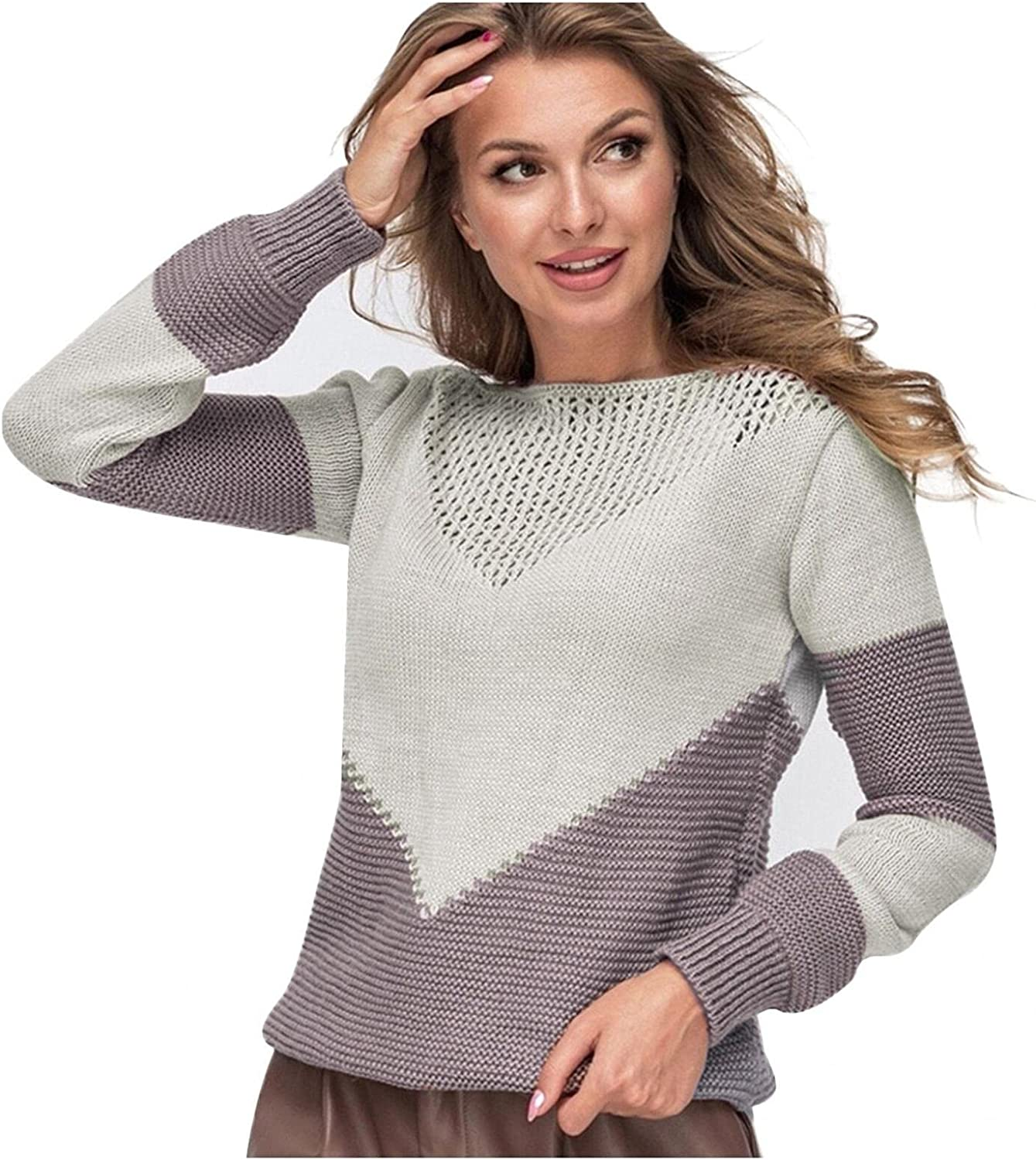 Toeava Sweaters for Women Long Sleeve Crewneck Hollow Out Color Block Ribbed Knit Sweater Casual Pullover Jumper Tops