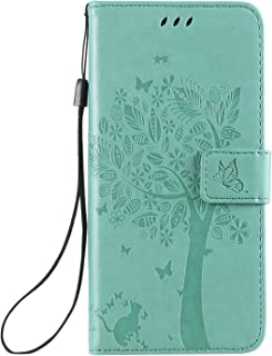 Mylne for Huawei P40 Pro Embossed Case,PU Leather Wallet Notebook Tree Cat Butterfly Design Cover with Kickstand Card Holder and ID Slot Slim Flip Full Protective Case