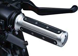Kuryakyn 6120 Motorcycle Handlebar Accessory: Heavy Industry Grips with End Caps for Dual Cable Throttle Control: 1982-2019 Harley-Davidson Motorcycles, Chrome, 1 Pair
