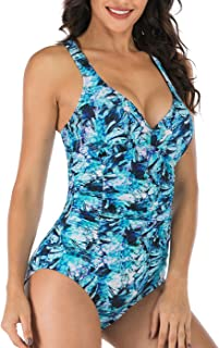 One Piece Swimsuits for Women Tummy Control Swimwear Vintage Floral Swim Suit Modest Padded Bathing Suits Ruched