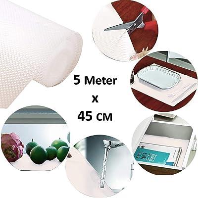 Kuber Industries Multipurpose Textured Super Strong Anti-Slip Mat Liner,Size 45X500 cm (5 Meter Roll, White) - CTKTC40244