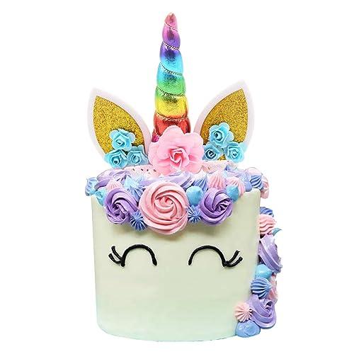 Unicorn Cake Topper Handmade Iridescent Horn Ears And Flowers DecorRainbow Color