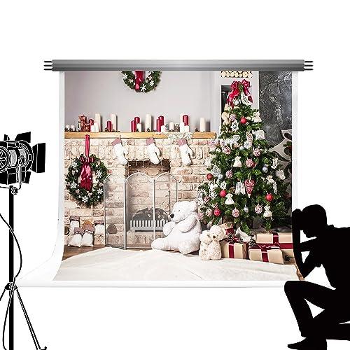 Kate Merry Christmas Photo Background Décorations de Sapin de Noël Photo Props Fond de cheminée Chaussettes Photocall pour Cosplay Holiday Studio Photos 10x10ft / 3x3m