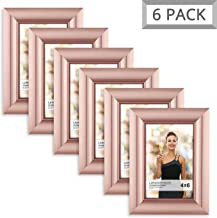 Langdon House 4x6 Picture Frame (6 Pack, Rose Gold), Rose Gold Photo Frame 4 x 6, Wall Mount or Table Top, Set of 6 Celebration Collection