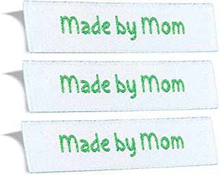 Wunderlabel Made by Mom Mother Crafting Fashion Woven Ribbon Ribbons Tag for Clothing Sewing Sew on Clothes Garment Fabric Material Textile Embroidered Label Labels Tags, Green on White, 50 Labels