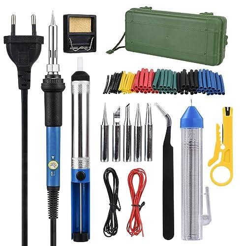 Kit del Soldador, moonlux Soldador Electrónica de Estaño 60W 220V, Soporte, Puntas,
