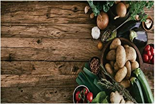 C COABALLA Harvest Utility Placemat,Various Vegetables on Rustic Wooden Table Onions Potatoes Zucchini Cherry Tomatoes Decorative for Home,One Piece 14
