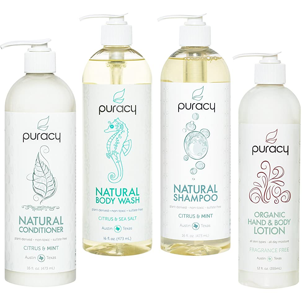 Puracy Organic Hair & Skin Care Set, Natural Body Wash, Shampoo, Conditioner, Lotion (4-Pack) fecaujeh615