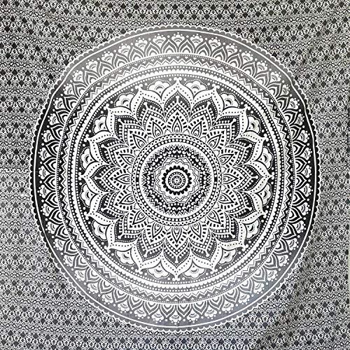 momomus Wandteppich Mandala - Bunt - 100% Baumwolle, Groß, Mehrzweck - Bettüberwurf/Sofaüberwurf & Überwurf für Sofa/Couch und Bett - Tagesdecke, Schwarz, 210 x230 cm