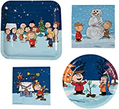 Peanuts Charlie Brown Christmas Party Supplies for 16 People: Lunch or Dinner Plates, Dessert Plates and Napkins 64 Piece Set