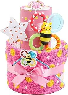 Sassy サッシー おむつケーキ 出産祝い 名入れ刺繍 ループ付きタオル 歯固め 男の子 女の子 ご出産祝い 御出産祝い ギフト プレゼント 2段 オムツケーキ ピンク パンパーステープタイプMサイズ