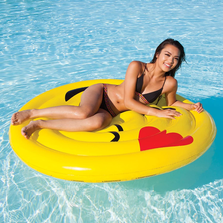 Kids Teens Playtime Summer Fun SET of 2 Pool Lake Beach Fun Play Outdoor with Intex Pump Emoji Float Flirt
