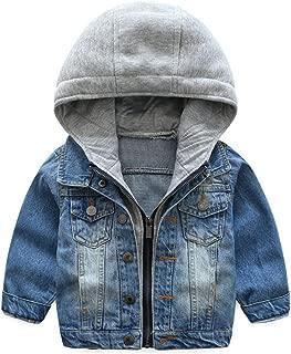 Baby Boys' Basic Denim Jacket Hoodie Button Down Jeans Jacket Top