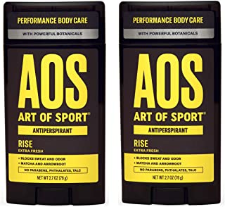 Art of Sport Men's Antiperspirant Deodorant (2-Pack) - Rise Scent - Antiperspirant for Men with Botanicals Matcha and Arrowroot - Fresh and Clean Fragrance - Made for Athletes - 2.7oz