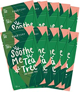 FaceTory Soothe Me Tea Tree 2-Step Sheet Mask with Tea Tree Oil for Acne Prone Skin (Pack of 10)
