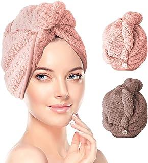 Cheveux Serviette, Renfox Serviettes pour Cheveux, Super Absorbant en Microfibre Super Absorbant Serviette pour Cheveux Tu...