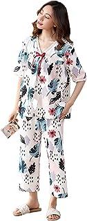 Fashring Women's Short Sleeve 3/4 Long Pant Round Neck Floral Print Summer Cotton Nightwear Sleepwear Pajama Set