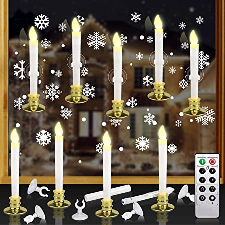 Holiday Decorations YUNLIGHTS 12 Pack Battery Powered Window Candles Flameless Taper Candles with Remote Control Christmas Removable Gold Holders and Suction Cups for Window Window Candles Timer