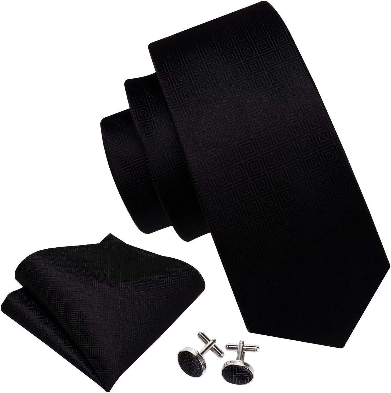 Neckties Set Men Tie Brooch Set Black Striped Jacquard Silk Tie For Wedding Party Neck Tie Handkerchief Cravat