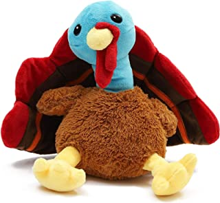Turkey Stuffed Animal, Thanksgiving Plush Toy for Kids, Fall Home Decor (9 in)