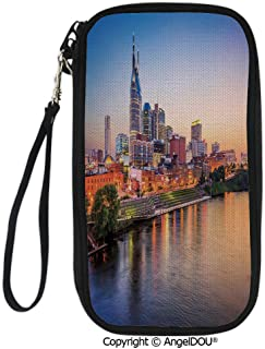 PUTIEN Hand Strap Design Travel Passport Wallet Cumberland River Nashville Tennessee Evening Architecture Travel Destination for Travel Bussiness.