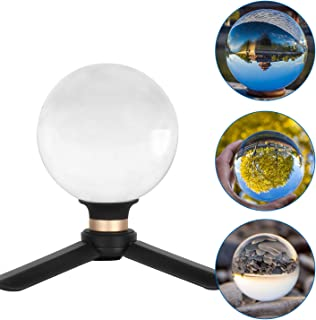 Besnfoto Crystal Ball Photography 80mm K9 Lens Ball Sphere with Mini Tripod and Suction Mount Base Stand Clear Decorative Glass Props Ball with Padded Shockproof Sleeve Bag