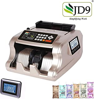 JD9 Mix Note Value Counting Machine/Currency Counting Machine with Fake Note Detection, High Speed & High Capacity, with LED Display and Large LCD Screen, Suitable for All Old & New Notes.