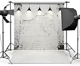 Dudaacvt 10x10ft White Brick Wall Photography Backdrop Customized Photo Background with Lights Waterproof Studio Prop Q0031010
