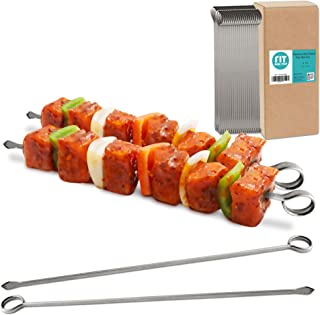 [48 Pack] 10 Inches Stainless Steel Flat Metal Skewers - Kabob Grilling Sticks, BBQ Mediterranean Mexican Cocktail Party, ...