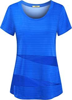 Womens Short Sleeve Running Shirts Loose Fit Sport Activewear Workout Tops