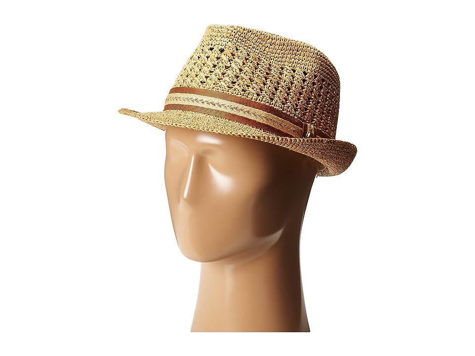 Tommy Bahama Vent Crochet Raffia Fedora (Tea 1) Fedora Hats