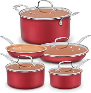 Dealz Frenzy Induction Cookware Set,Cooking Pot and Pan Set,Tri-Ply Stainless Steel Non-Stick Copper Pots, Rustproof & Oven & Dishwasher Safe, PFOA Free, FDA Halloween (Red)