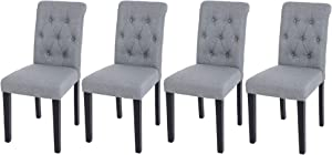 NOBPEINT Fabric Dining Chairs with Solid Wood Legs Set of 4, Grey